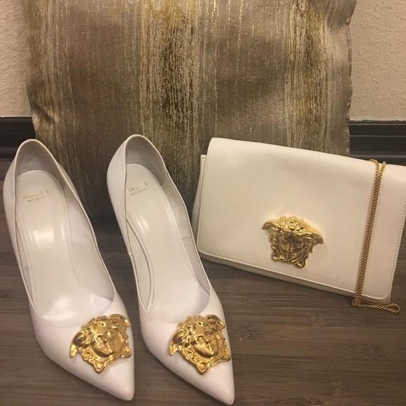 Versace White Gold Palazzo Pumps